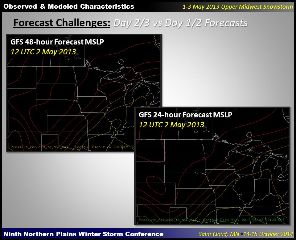 Ninth Northern Plains Winter Storm Conference Saint Cloud, MN 14-15 October 2014 Observed & Modeled Characteristics 1-3 May 2013 Upper Midwest Snowstorm Day 2/3 vs Day 1/2 Forecasts Forecast Challenges: Day 2/3 vs Day 1/2 Forecasts GFS 48-hour Forecast MSLP 12 UTC 2 May 2013 GFS 24-hour Forecast MSLP 12 UTC 2 May 2013