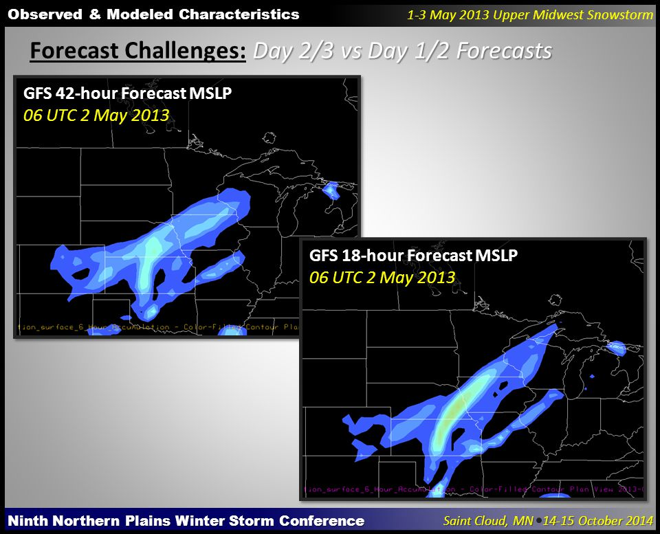 Ninth Northern Plains Winter Storm Conference Saint Cloud, MN 14-15 October 2014 Observed & Modeled Characteristics 1-3 May 2013 Upper Midwest Snowstorm Day 2/3 vs Day 1/2 Forecasts Forecast Challenges: Day 2/3 vs Day 1/2 Forecasts GFS 42-hour Forecast MSLP 06 UTC 2 May 2013 GFS 18-hour Forecast MSLP 06 UTC 2 May 2013
