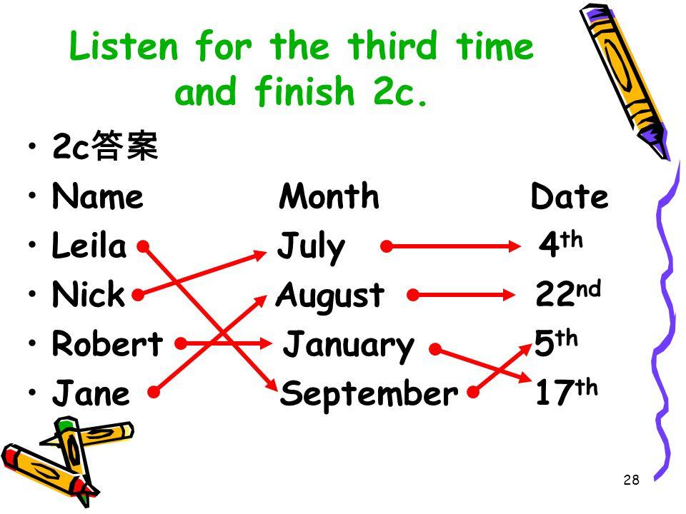 27 基数词 - 序数词变化规律 基变序,要巧记, 一、二、三特殊记。 -th 四加起, 八去 t 来九去 e 。 遇到 ve, f 替, -ty 变为 tie, 后跟 -th 要切记。 若想表示几十几, 只变个位就可以。