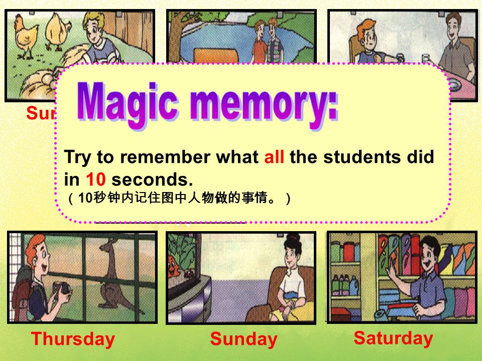 Sunday Monday Tuesday Wednesday Thursday Sunday Saturday Try to remember what all the students did in 10 seconds.