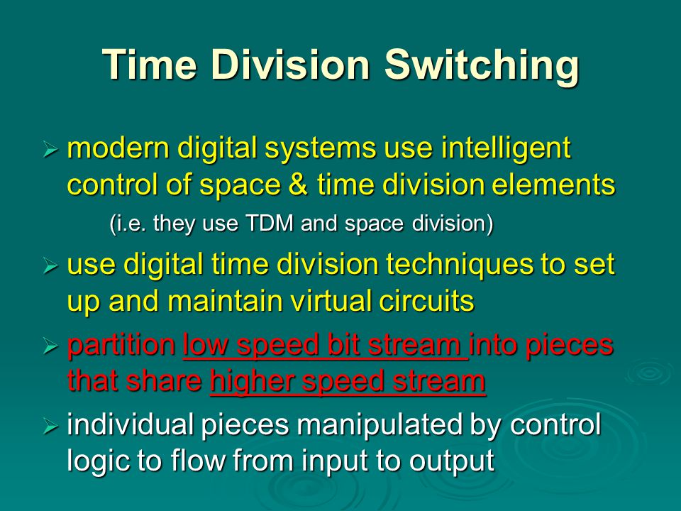 Time Division Switching  modern digital systems use intelligent control of space & time division elements (i.e. they use TDM and space division)  us