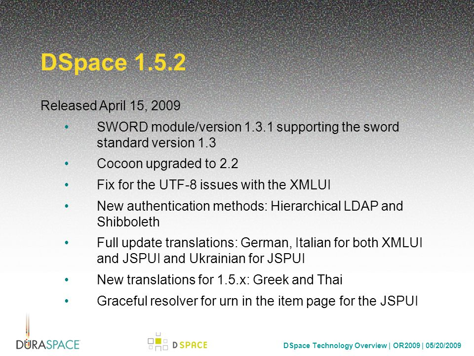 DSpace Technology Overview | OR2009 | 05/20/2009 DSpace 2.0 Service Manager Core Based on Spring Services –StorageService –MetadataSchemaService –AuthN/AuthZ –Session support –...