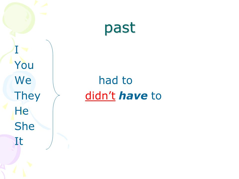 past I You We had to They didn't have to He She It