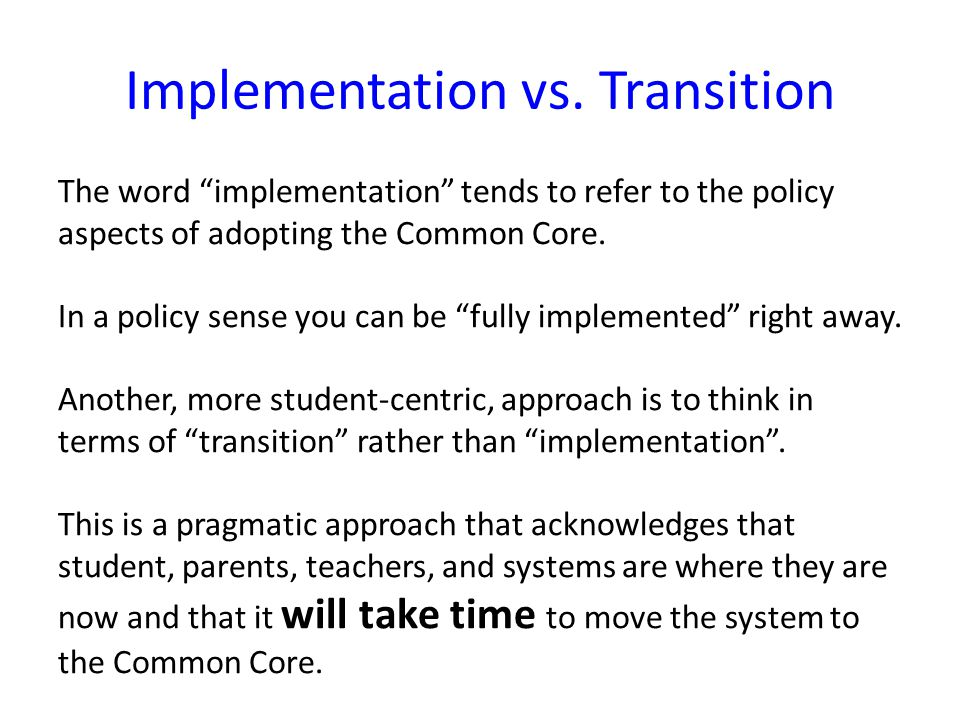 Implementation vs.