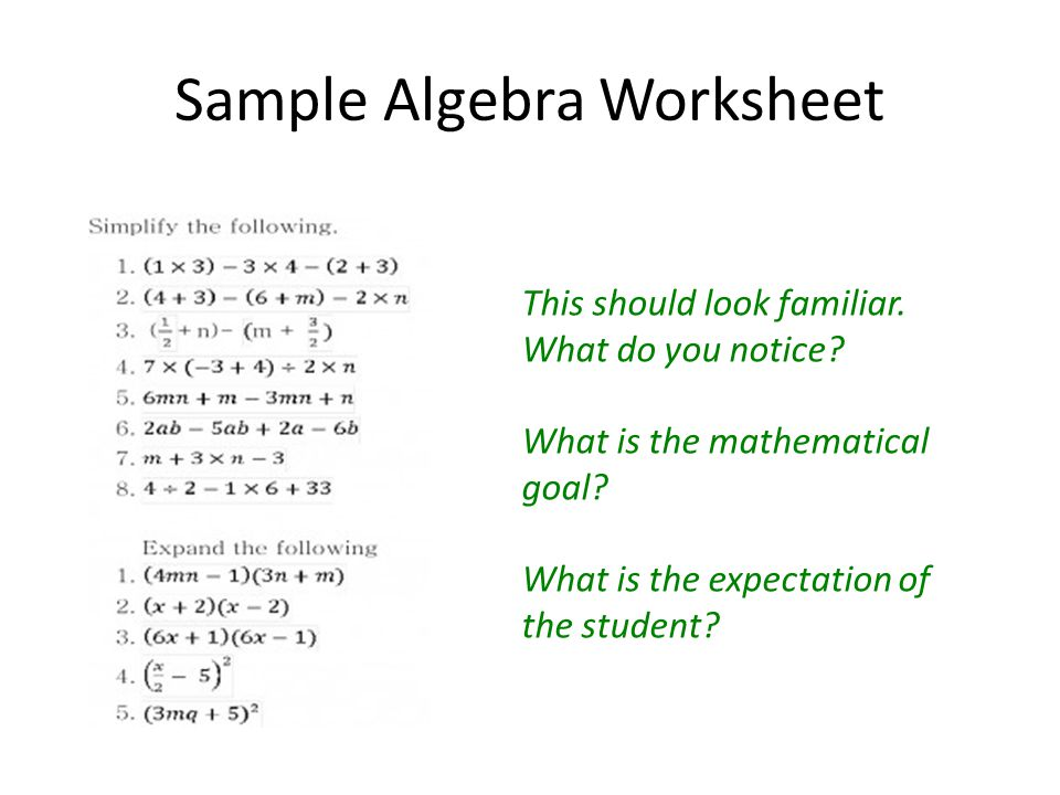 Sample Algebra Worksheet This should look familiar.
