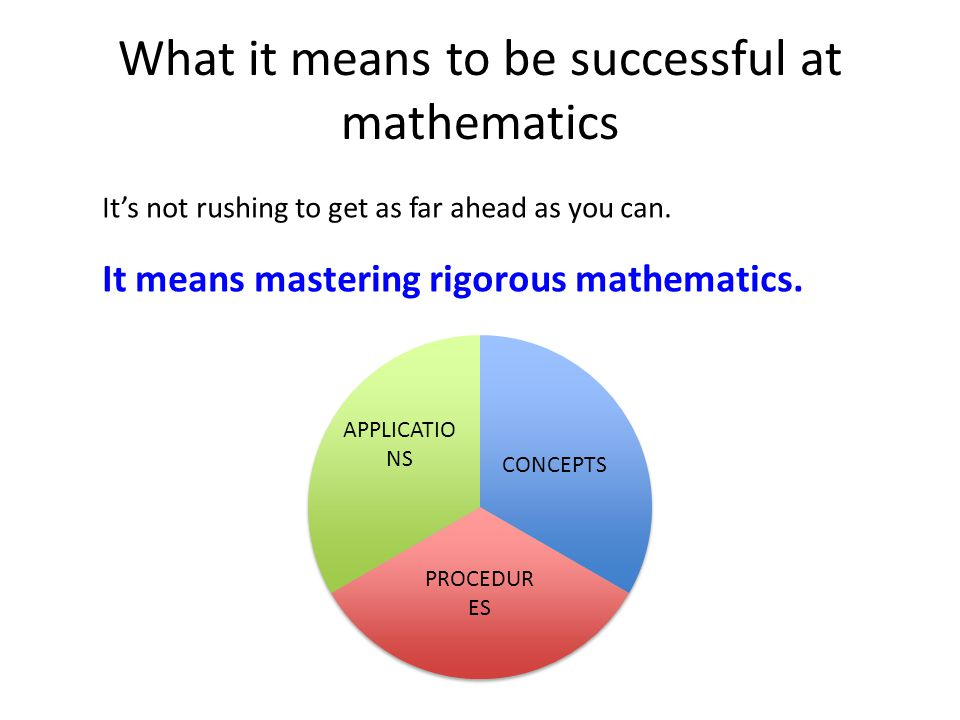 What it means to be successful at mathematics It's not rushing to get as far ahead as you can.
