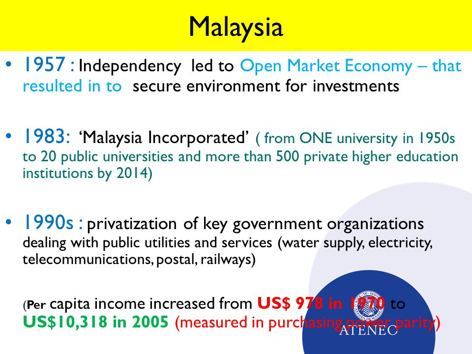 Malaysia 1957 : Independency led to Open Market Economy – that resulted in to secure environment for investments 1983: 'Malaysia Incorporated' ( from