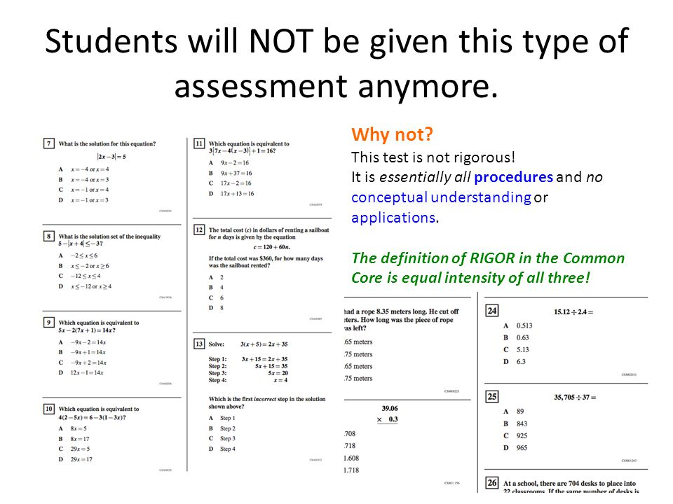 Students will NOT be given this type of assessment anymore.