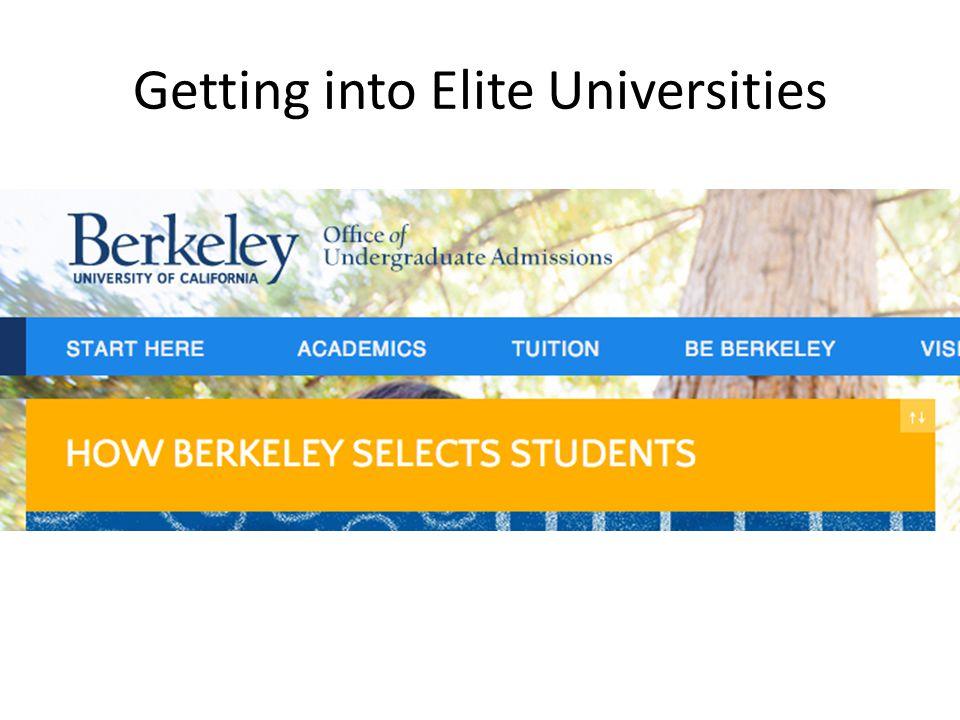 Getting into Elite Universities