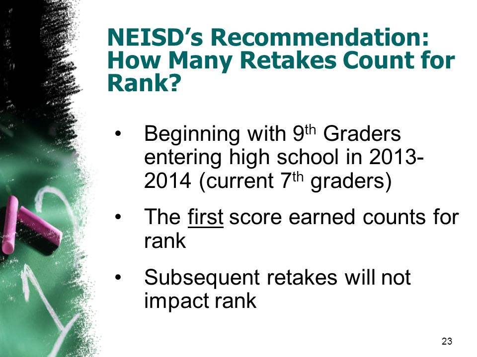 Beginning with 9 th Graders entering high school in 2013- 2014 (current 7 th graders) The first score earned counts for rank Subsequent retakes will not impact rank NEISD's Recommendation: How Many Retakes Count for Rank.