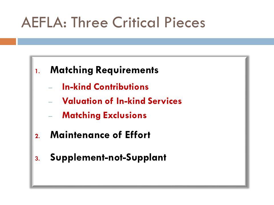 AEFLA: Three Critical Pieces 1.