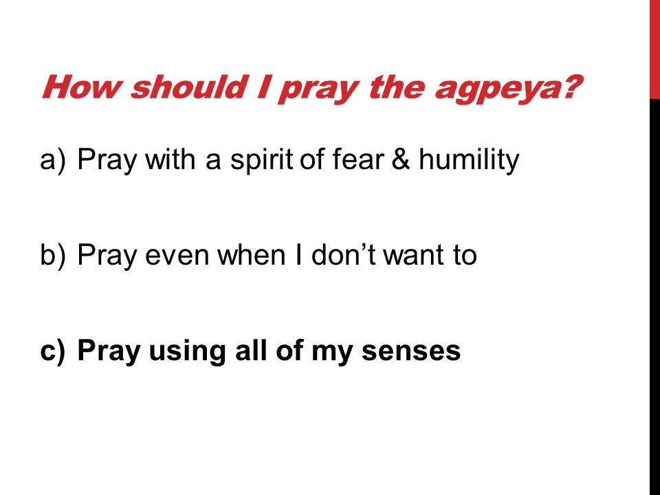 How should I pray the agpeya? a)Pray with a spirit of fear & humility b)Pray even when I don't want to c)Pray using all of my senses