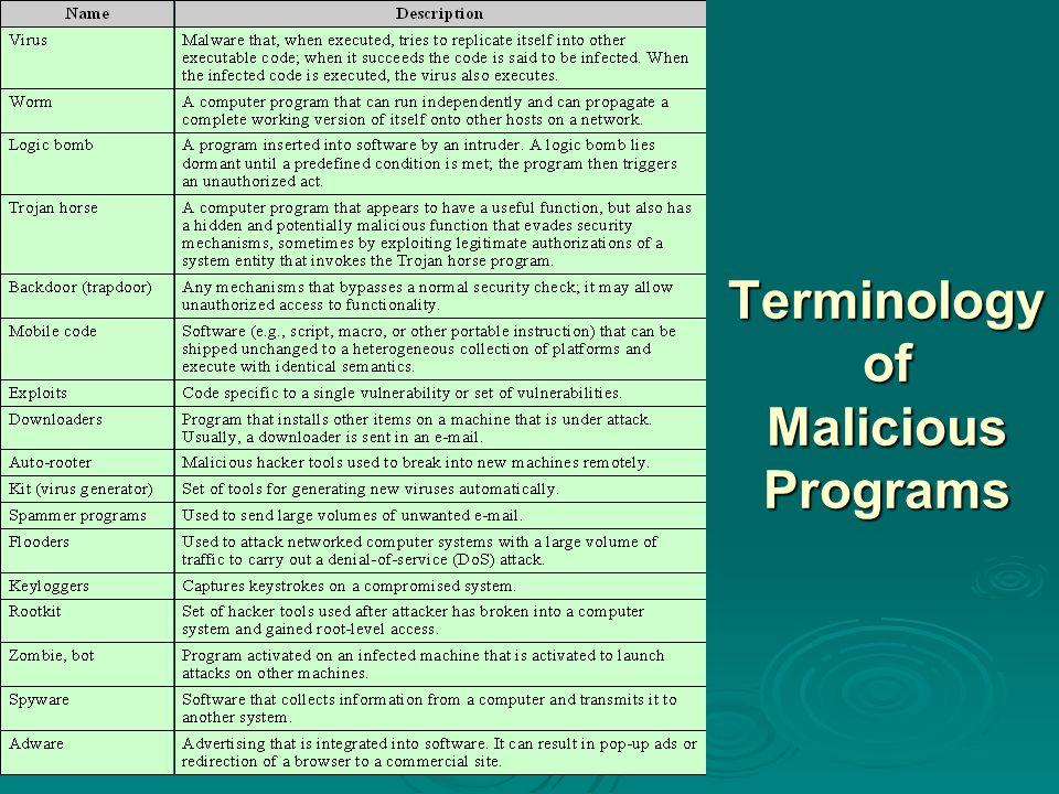Terminology of Malicious Programs Terminology of Malicious Programs
