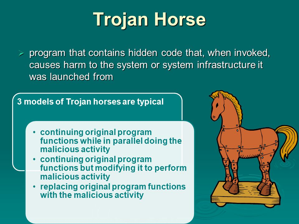 Trojan Horse  program that contains hidden code that, when invoked, causes harm to the system or system infrastructure it was launched from 3 models