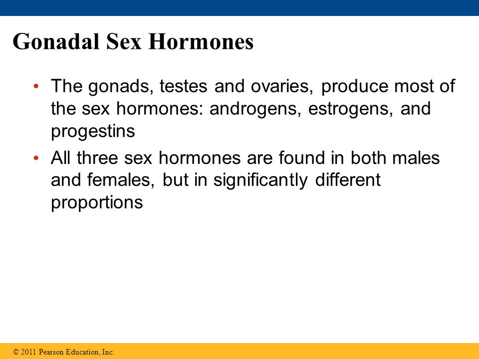 Gonadal Sex Hormones The gonads, testes and ovaries, produce most of the sex hormones: androgens, estrogens, and progestins All three sex hormones are