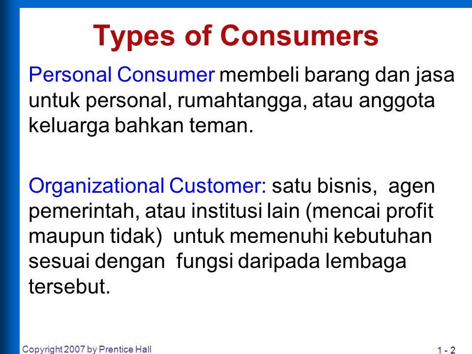 1 - 2 Copyright 2007 by Prentice Hall Types of Consumers Personal Consumer membeli barang dan jasa untuk personal, rumahtangga, atau anggota keluarga