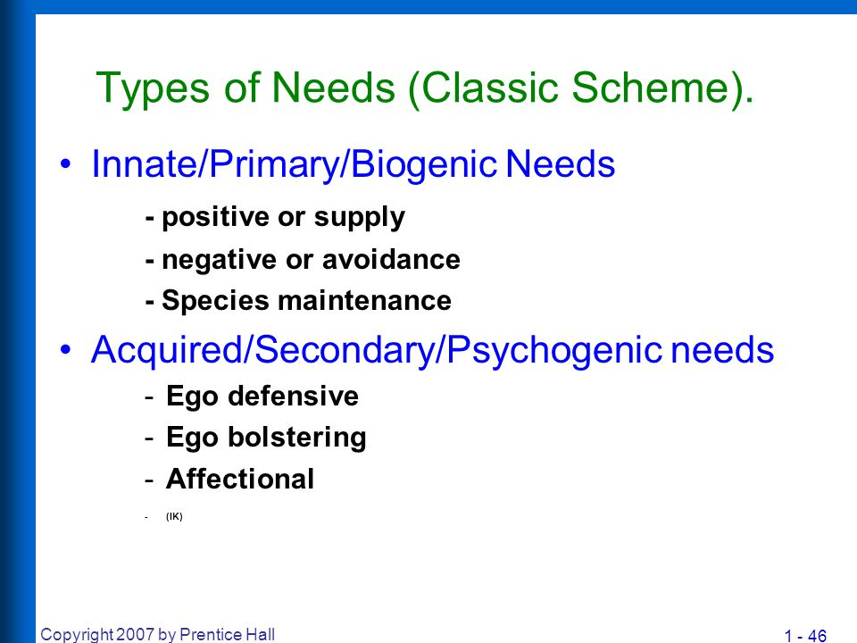 1 - 46 Copyright 2007 by Prentice Hall Types of Needs (Classic Scheme). Innate/Primary/Biogenic Needs - positive or supply - negative or avoidance - S