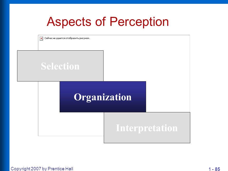 1 - 85 Copyright 2007 by Prentice Hall Aspects of Perception Selection Organization Interpretation
