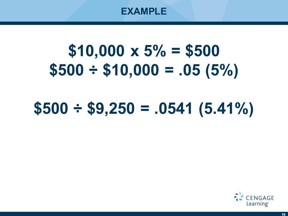 18 EXAMPLE $10,000 x 5% = $500 $500 ÷ $10,000 =.05 (5%) $500 ÷ $9,250 =.0541 (5.41%)