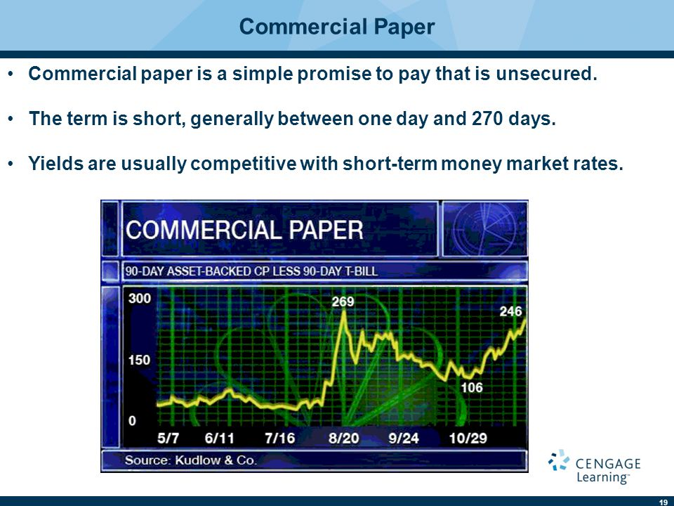 19 Commercial Paper Commercial paper is a simple promise to pay that is unsecured.