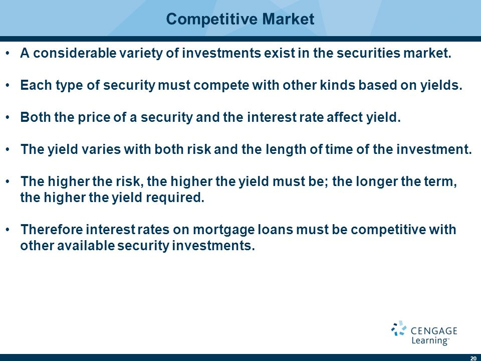 20 Competitive Market A considerable variety of investments exist in the securities market.