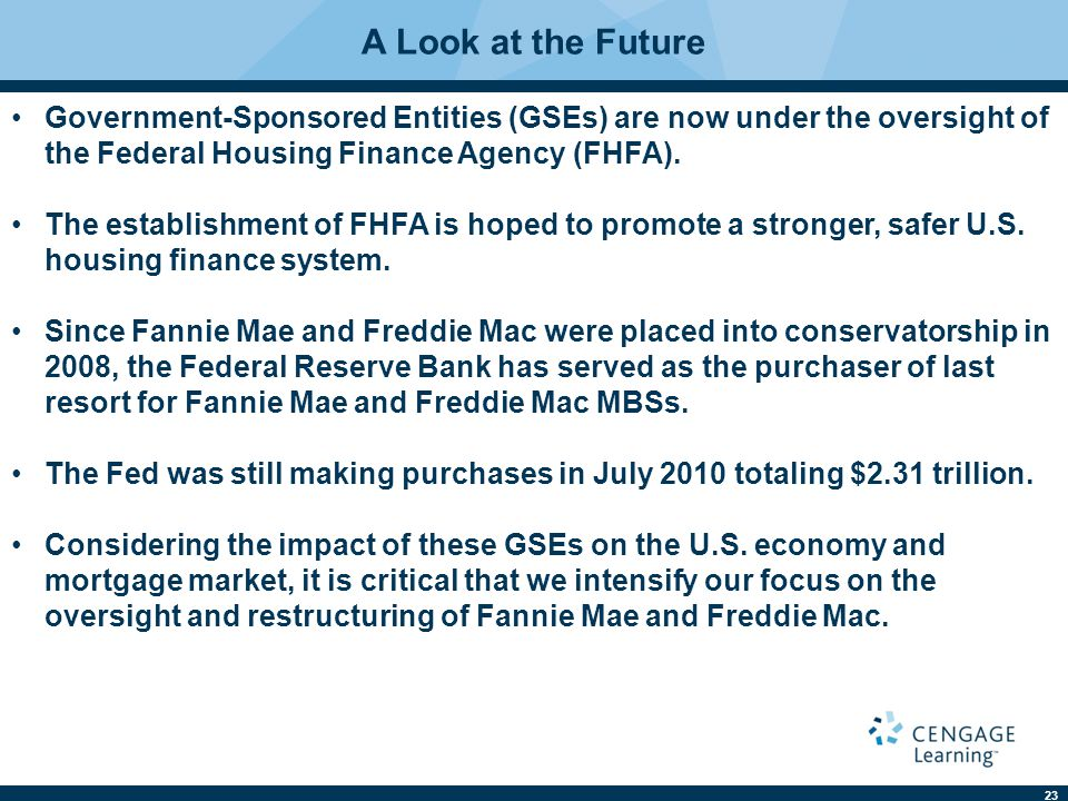 23 A Look at the Future Government-Sponsored Entities (GSEs) are now under the oversight of the Federal Housing Finance Agency (FHFA).