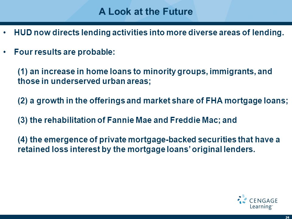 24 A Look at the Future HUD now directs lending activities into more diverse areas of lending.