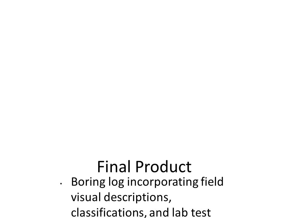 Final Product Boring log incorporating field visual descriptions, classifications, and lab test results