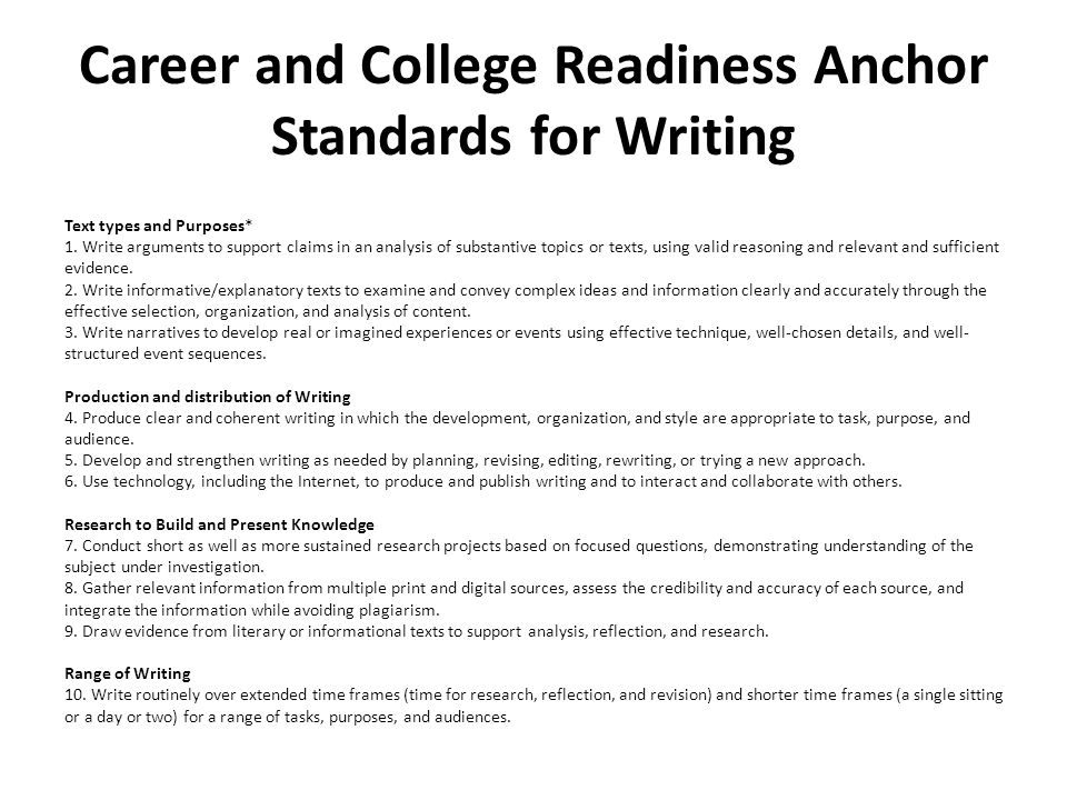 Career and College Readiness Anchor Standards for Writing Text types and Purposes* 1.