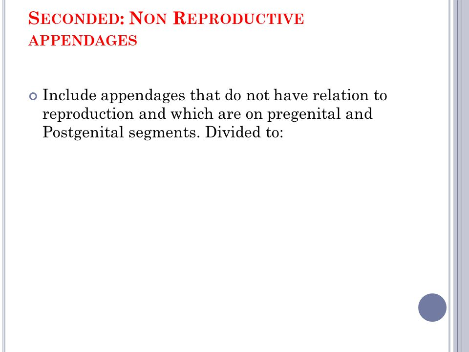 S ECONDED : N ON R EPRODUCTIVE APPENDAGES Include appendages that do not have relation to reproduction and which are on pregenital and Postgenital seg