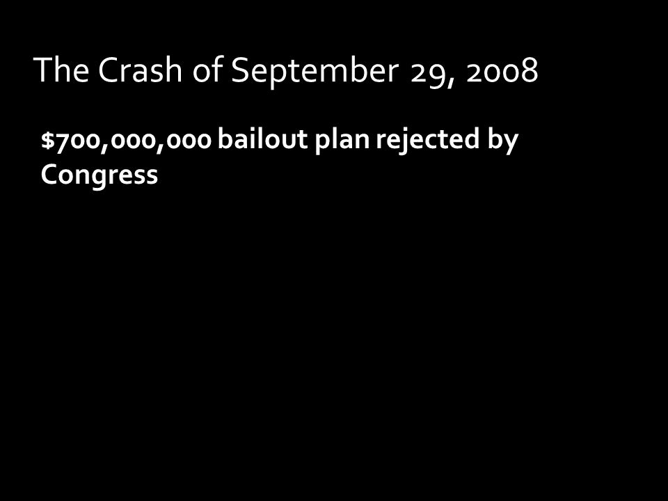 The Crash of September 29, 2008 $700,000,000 bailout plan rejected by Congress