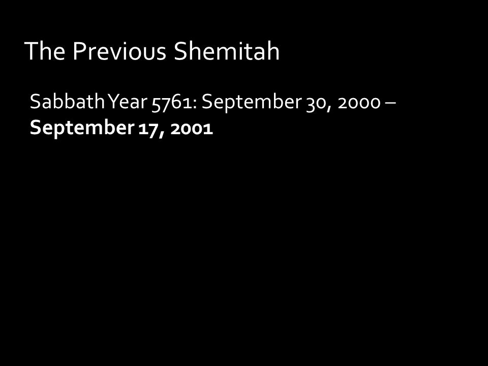 The Previous Shemitah Sabbath Year 5761: September 30, 2000 – September 17, 2001