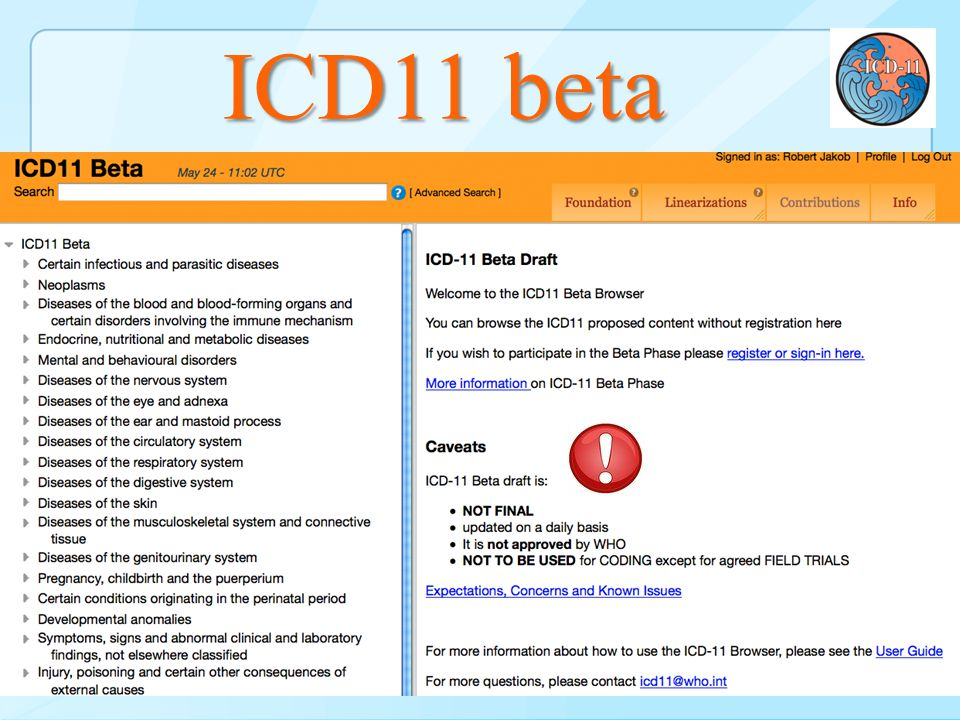 ICD11 beta http://www.who.int/classifications/icd/revision BrowserBeta – Browser & Print 10 look & feel + descriptions – code structure ! ICD-11 beta