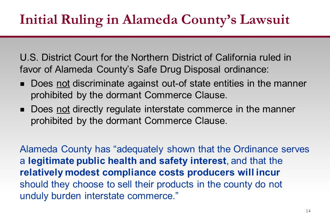 Initial Ruling in Alameda County's Lawsuit U.S.