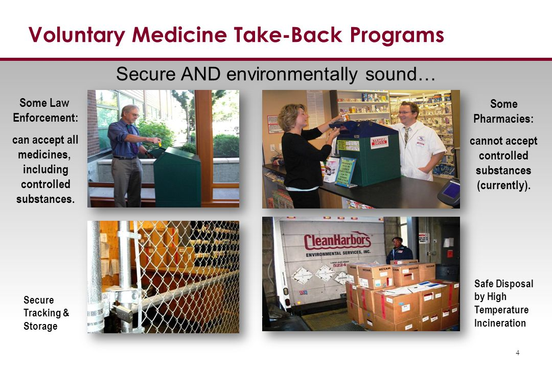 National Prescription Drug Take-Back Days DEA-coordinated events in spring & fall Results from Washington Events: April 2014 – 16,677 pounds Oct.