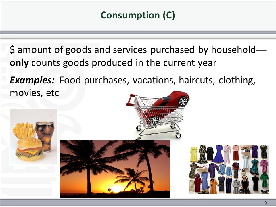 Consumption (C) $ amount of goods and services purchased by household — only counts goods produced in the current year Examples: Food purchases, vacations, haircuts, clothing, movies, etc 3