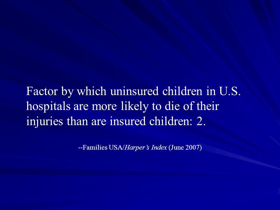Factor by which uninsured children in U.S.