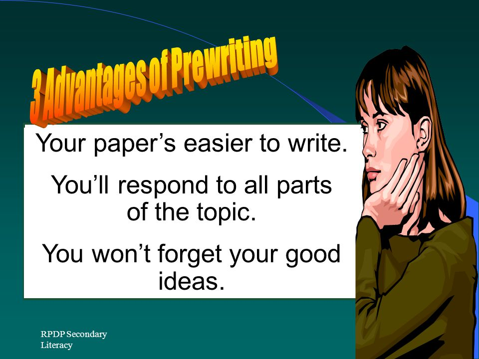 Your paper's easier to write.You'll respond to all parts of the topic.