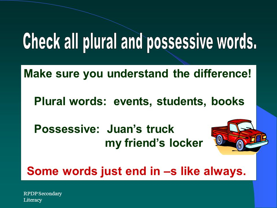 RPDP Secondary Literacy Make sure you understand the difference.