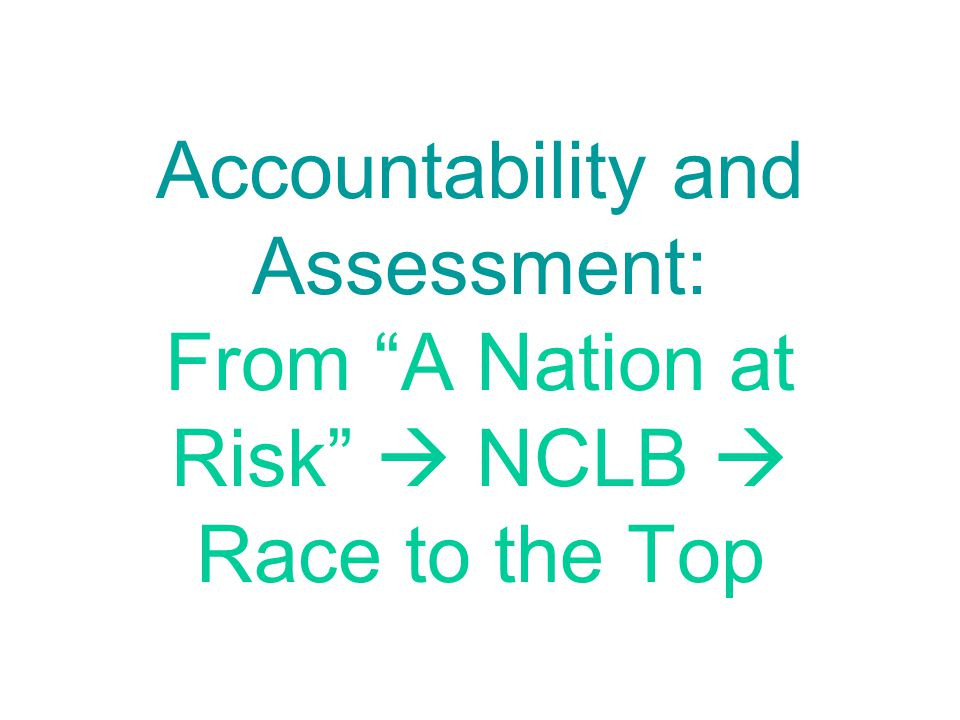 How NCLB Promotes Equity: Disaggregates scores Judges schools by their least successful students, not their most successful Establishes clear and common achievement standards; eliminates between-school and even between-district variation in standards for success Provides strong incentives for school improvement focused on student achievement Purportedly offers students/families in failing schools additional options, including to transfer to a non-failing school