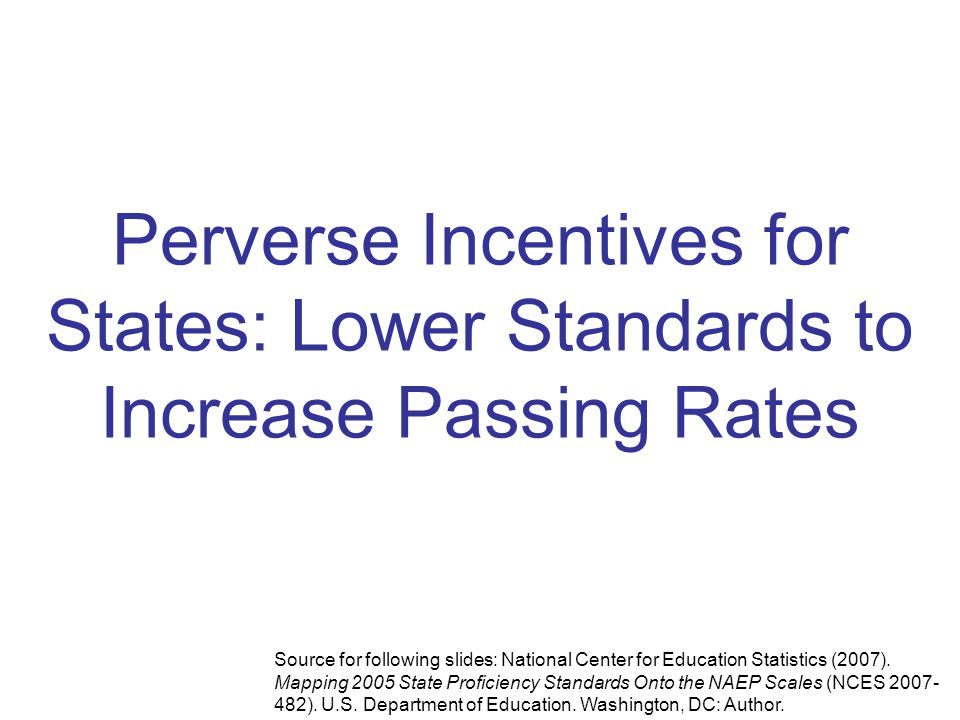 Perverse Incentives for States: Lower Standards to Increase Passing Rates Source for following slides: National Center for Education Statistics (2007).