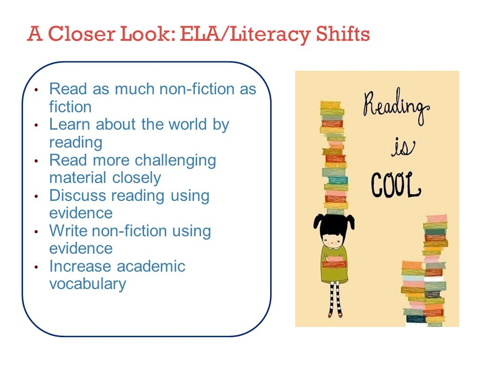Read as much non-fiction as fiction Learn about the world by reading Read more challenging material closely Discuss reading using evidence Write non-fiction using evidence Increase academic vocabulary A Closer Look: ELA/Literacy Shifts