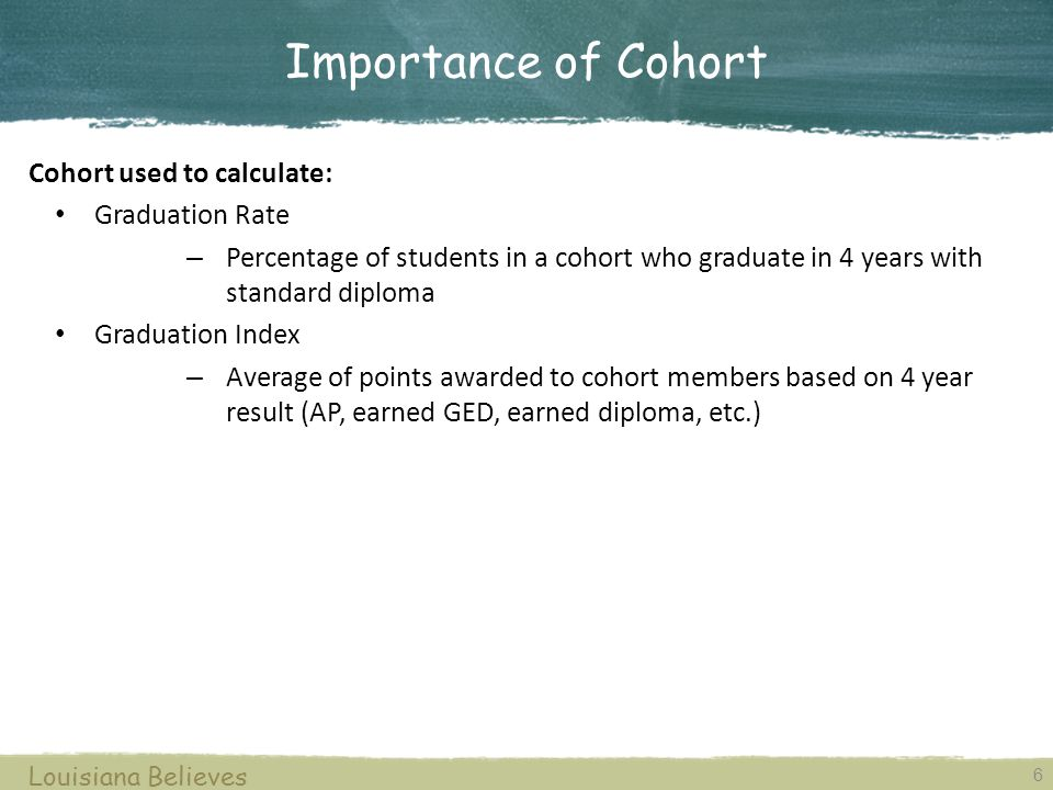 6 Louisiana Believes Importance of Cohort Cohort used to calculate: Graduation Rate – Percentage of students in a cohort who graduate in 4 years with standard diploma Graduation Index – Average of points awarded to cohort members based on 4 year result (AP, earned GED, earned diploma, etc.)