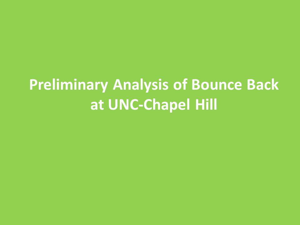 Preliminary Analysis of Bounce Back at UNC-Chapel Hill