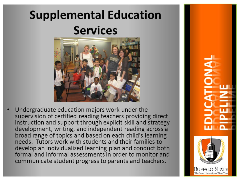 Supplemental Education Services Undergraduate education majors work under the supervision of certified reading teachers providing direct instruction and support through explicit skill and strategy development, writing, and independent reading across a broad range of topics and based on each child s learning needs.