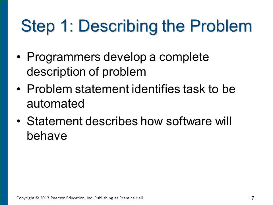 Step 1: Describing the Problem Programmers develop a complete description of problem Problem statement identifies task to be automated Statement descr
