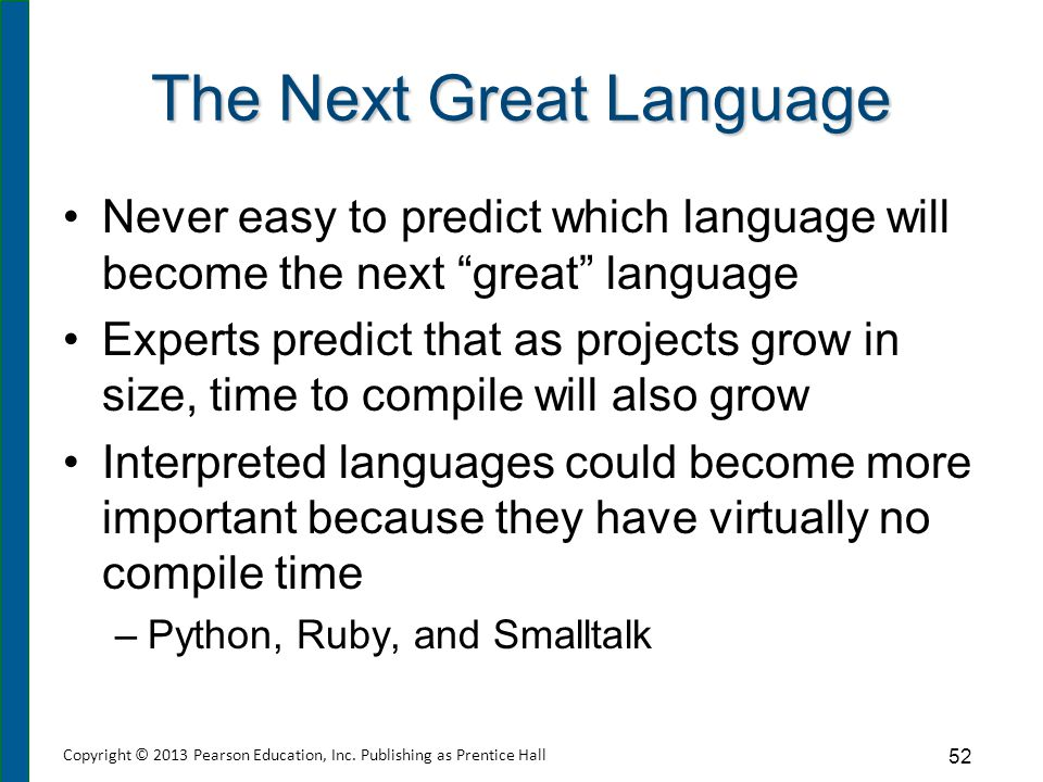 """The Next Great Language Never easy to predict which language will become the next """"great"""" language Experts predict that as projects grow in size, time"""