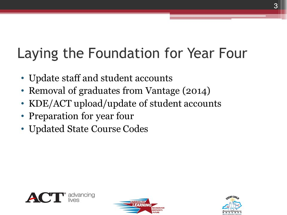 Laying the Foundation for Year Four Update staff and student accounts Removal of graduates from Vantage (2014) KDE/ACT upload/update of student accounts Preparation for year four Updated State Course Codes 3