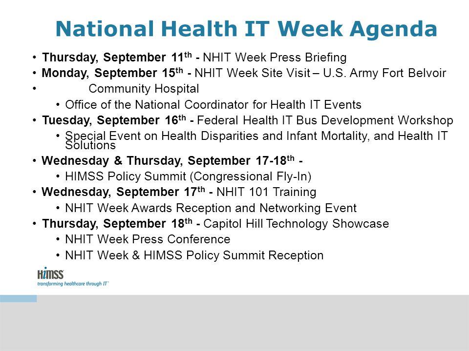 National Health IT Week Agenda Thursday, September 11 th - NHIT Week Press Briefing Monday, September 15 th - NHIT Week Site Visit – U.S.