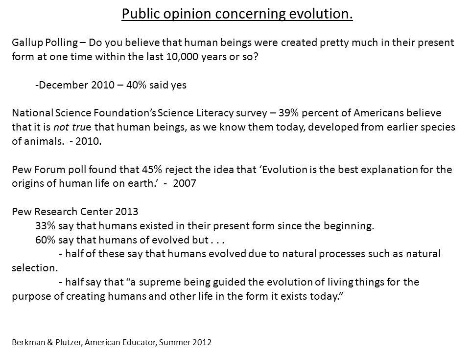 Public opinion concerning evolution.
